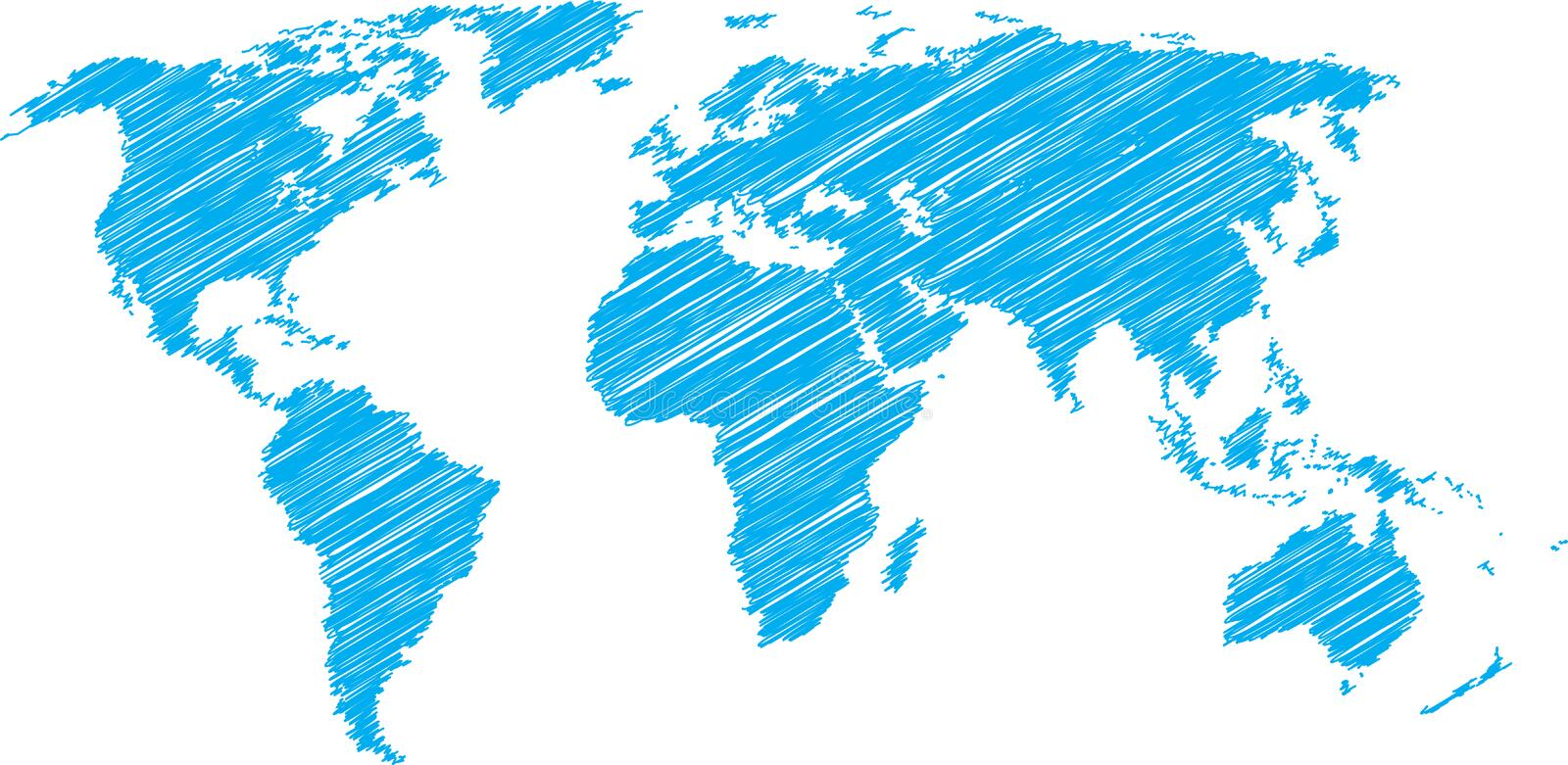 World map sketch. Blue vector scribble sketch of world map