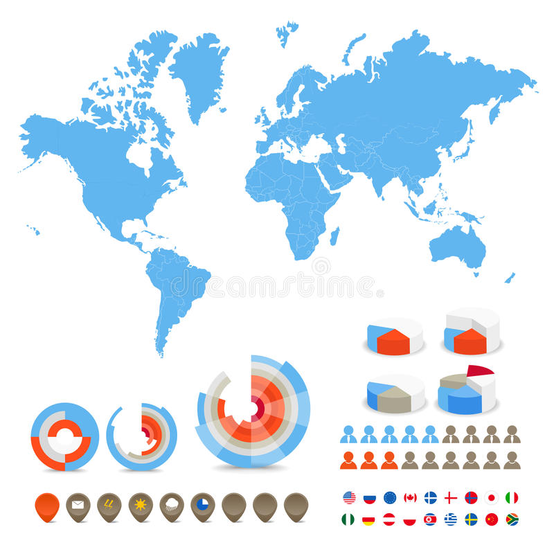 World map with special symbols. Infographics. World map, flags of different countries and diagrams and icons