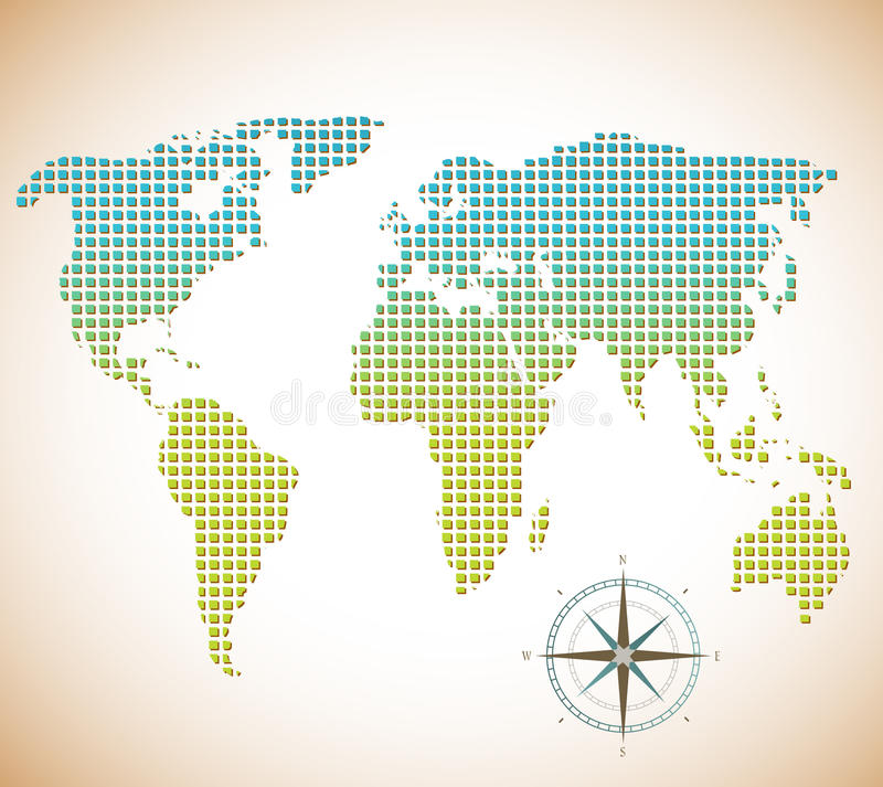 World map of squares with compass stock vector illustration of download world map of squares with compass stock vector illustration of design antique gumiabroncs Image collections
