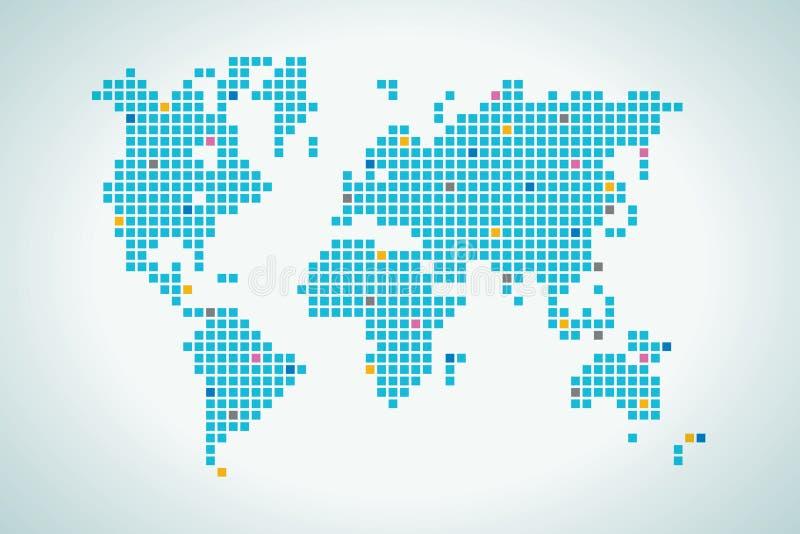 World map in squares dot vector illustration