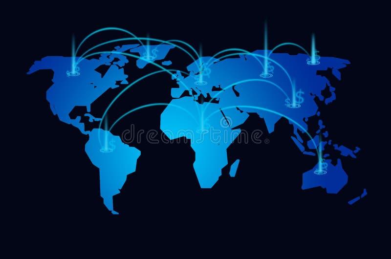World map stock market background royalty free illustration