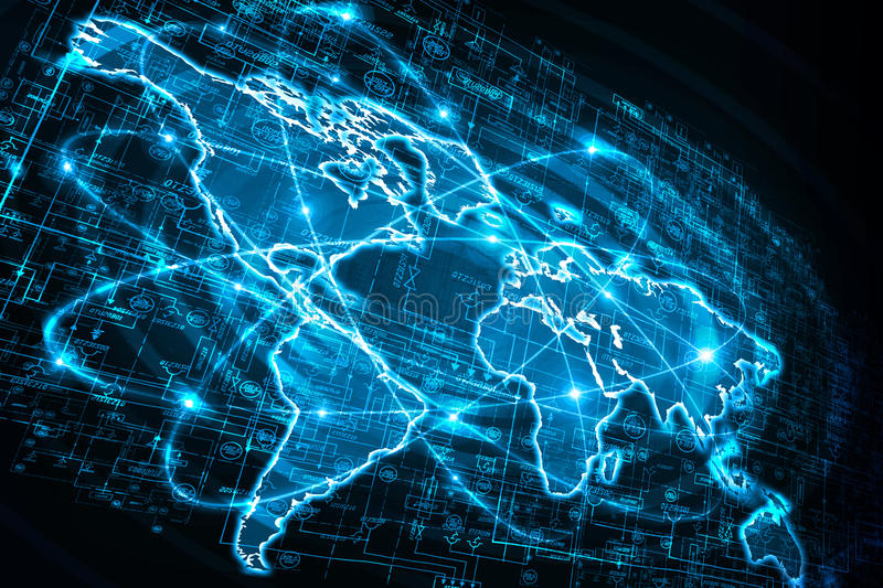 World map on a technological background, glowing royalty free stock images