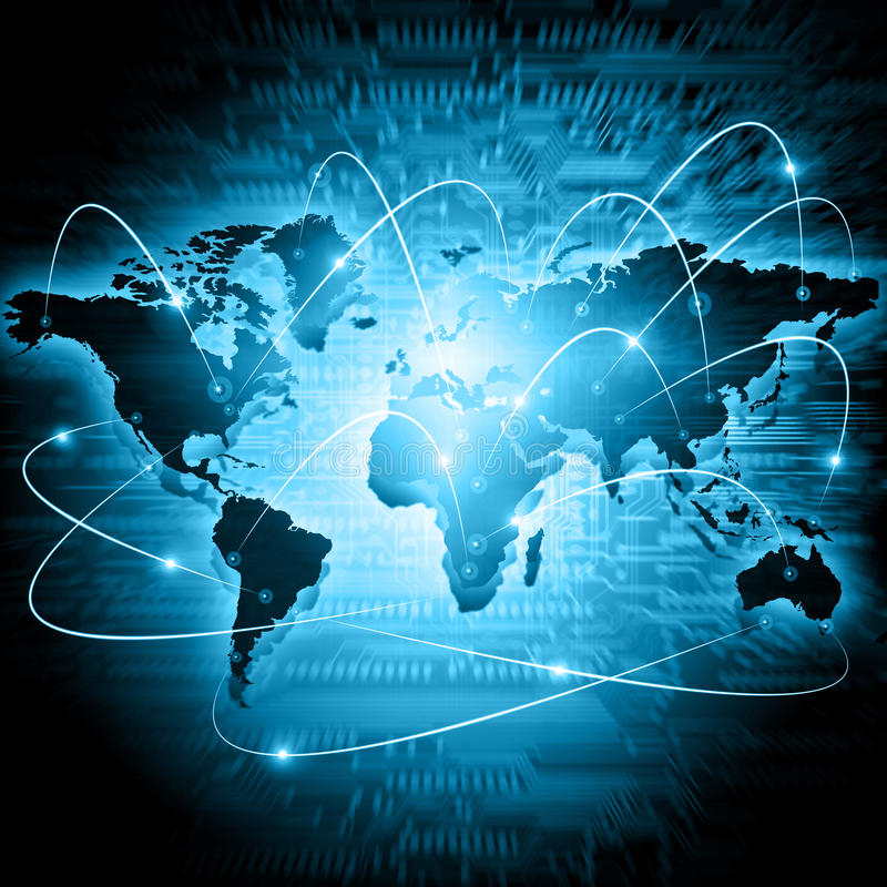 World map on a technological background glowing lines symbols of download world map on a technological background glowing lines symbols of the internet radio gumiabroncs Choice Image