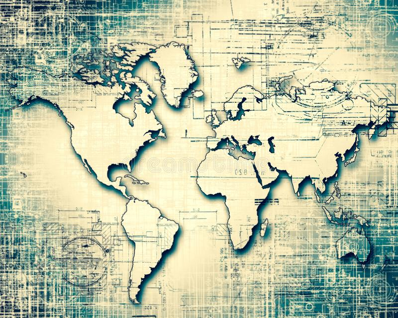 World map on a technological background glowing lines symbols of download world map on a technological background glowing lines symbols of the internet radio gumiabroncs Image collections
