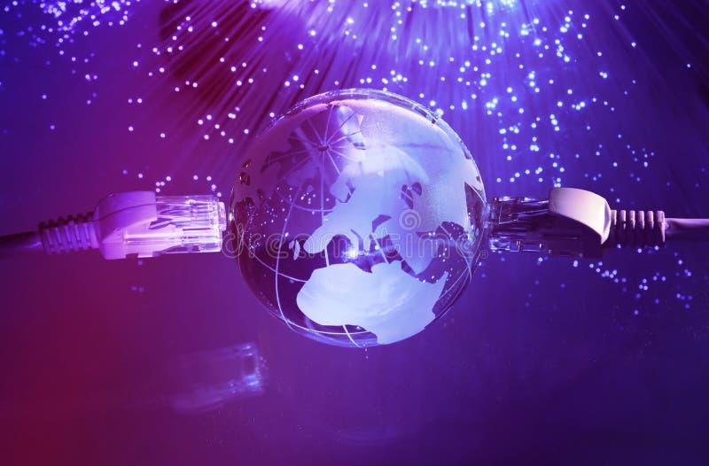 World map technology style. Against fiber optic background stock photo