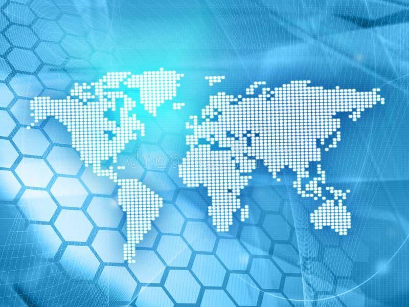 World map technology-style stock illustration