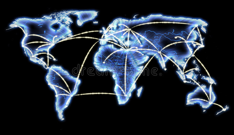 World Map Telecommunications Internet Network. Showing connections