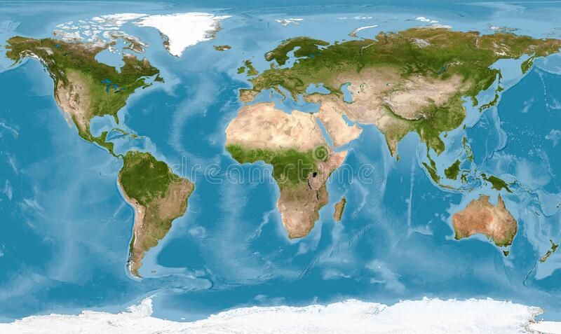 World map with texture on global satellite photo, Earth view from space. Detailed flat map of continents and oceans. Panorama of planet surface. Elements of stock image