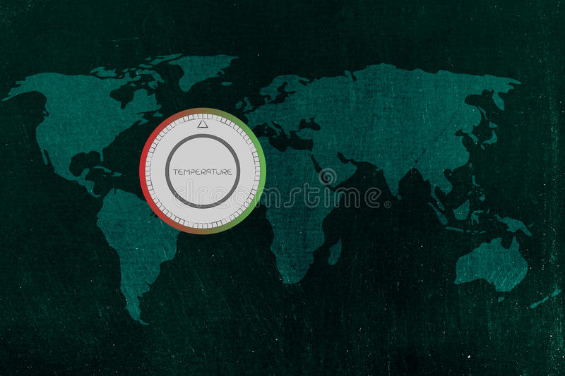 World map with thermostat, global warming & climate change. Global warming & climate change concept: world map with thermostat showing temperatures rising stock photos