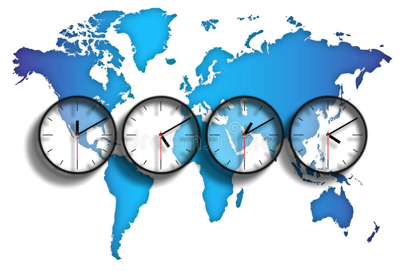 World map time zones. An image of the world with clock faces showing different time zones on each one. The graphic also has an illustration of the world in map royalty free illustration
