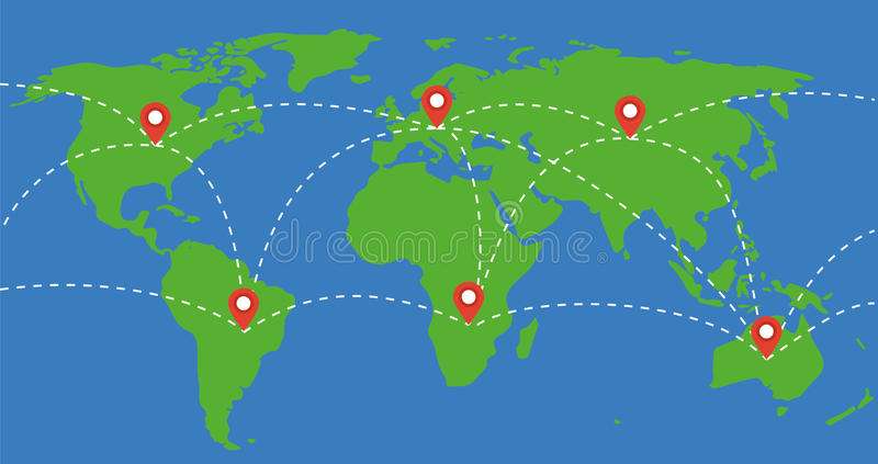World Map Travel Around The World Concept Illustration Stock Vector