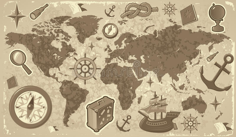 World map with travel icons stock vector illustration of globe download world map with travel icons stock vector illustration of globe antique 11205211 gumiabroncs Images