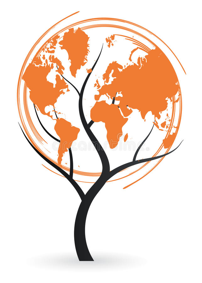 World map tree. Illustration of world map tree design on white background