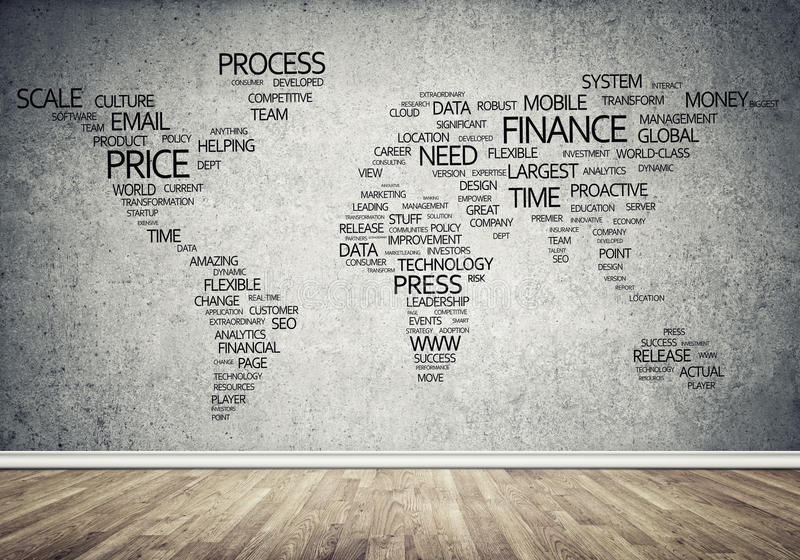 World map in typography. Concept of global business with world map on concrete wall royalty free stock photos