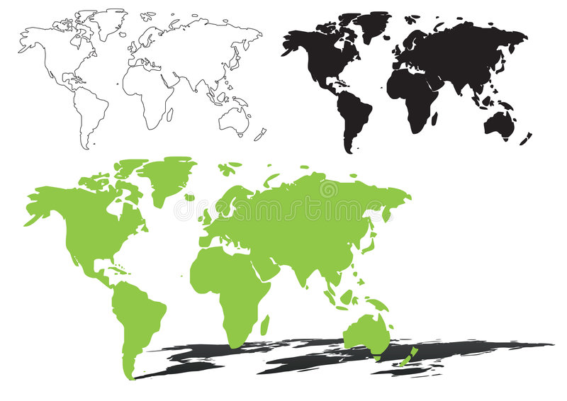 World map - vector. World map outline and silhouette shadowed green vector map