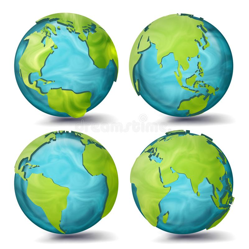 World Map Vector. 3d Planet Set. Earth With Continents. Eurasia, Australia, Oceania, North America, South America vector illustration