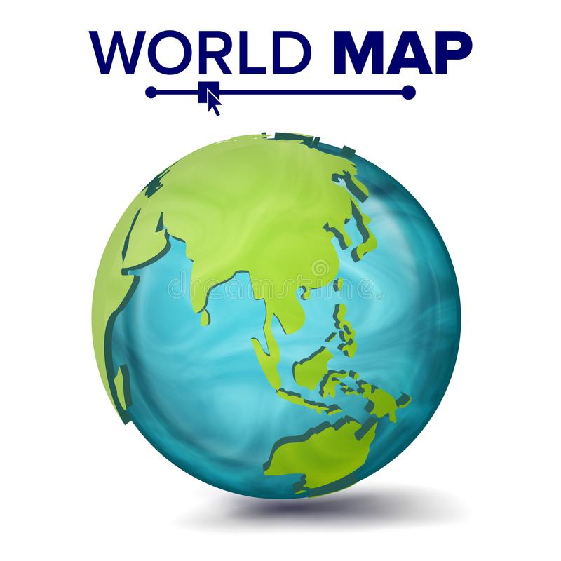 World Map Vector. 3d Planet Sphere. Earth With Continents. Asia, Australia, Oceania, Africa. Isolated Illustration stock illustration
