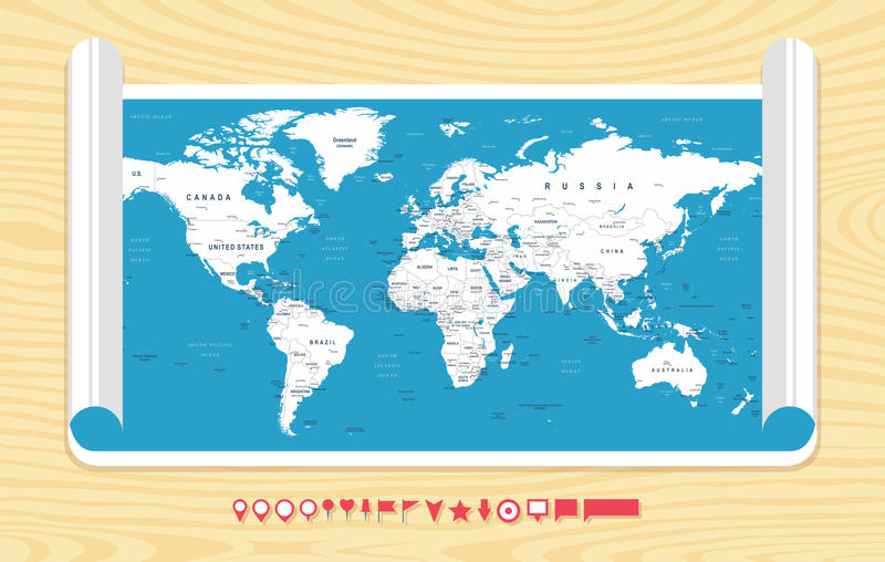 World Map Vector. Detailed illustration of worldmap vector illustration