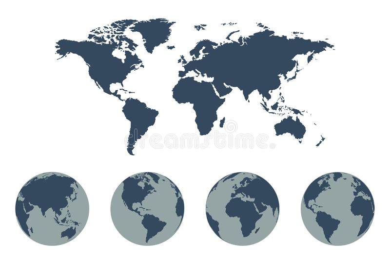 World Map Vector icon with Earth Globes. World map in blue color royalty free illustration