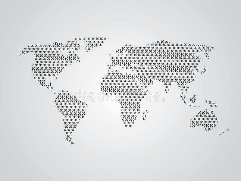 World map vector illustration using binary numbers or signs to represent digital globe stock illustration