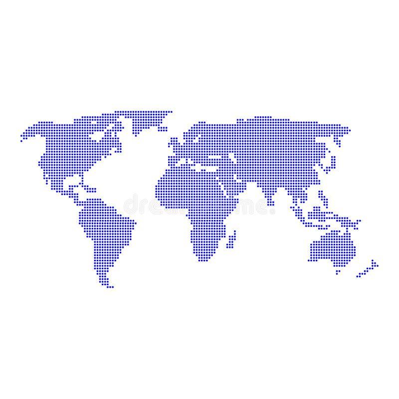 World map-vektor, isolerad på vit bakgrund Platt jord vektor illustrationer