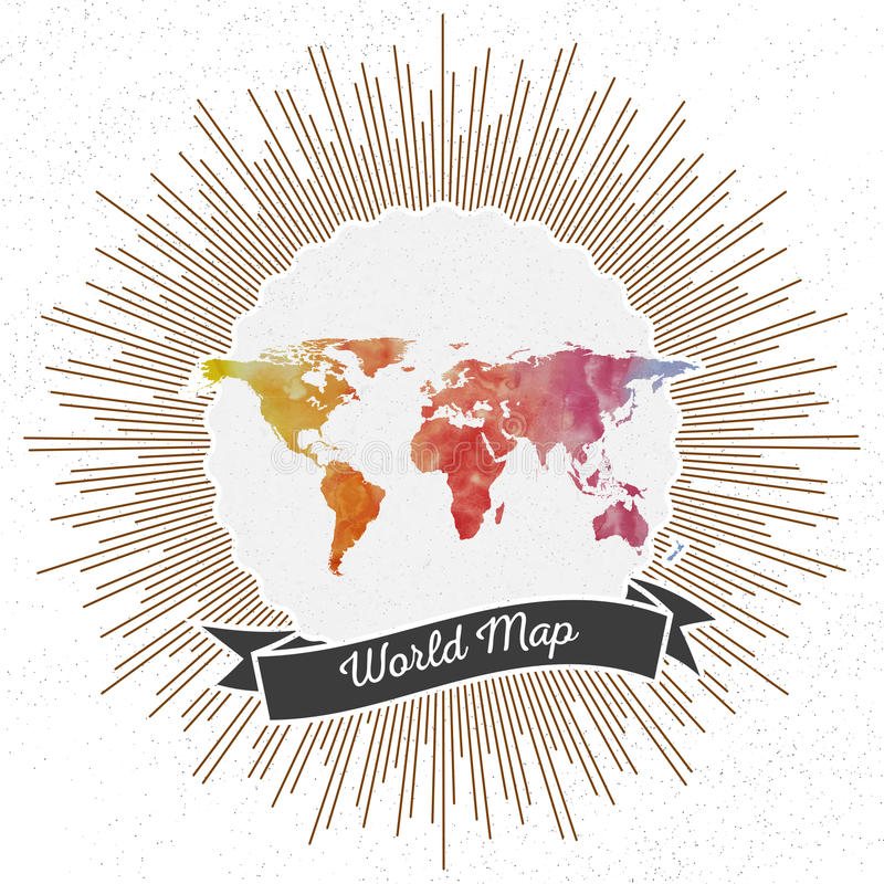 World map with vintage style star burst, colorful royalty free illustration