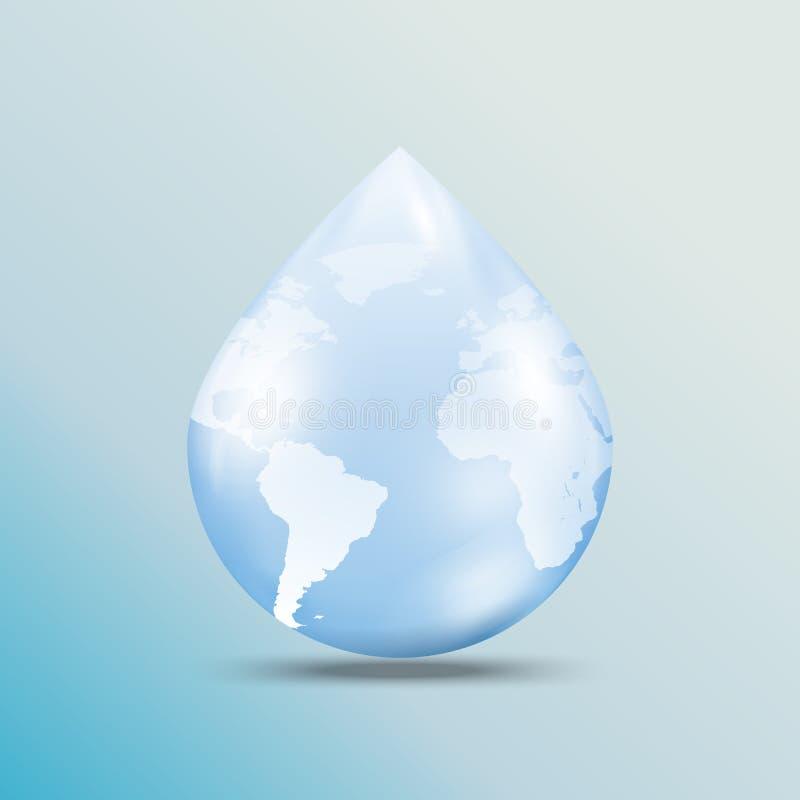 02.World map on water drop shape vector illustration