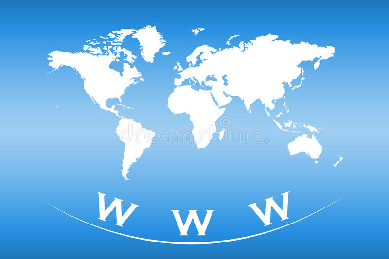 World map with web and internet concept. World map on a blue background with web and internet concept vector illustration
