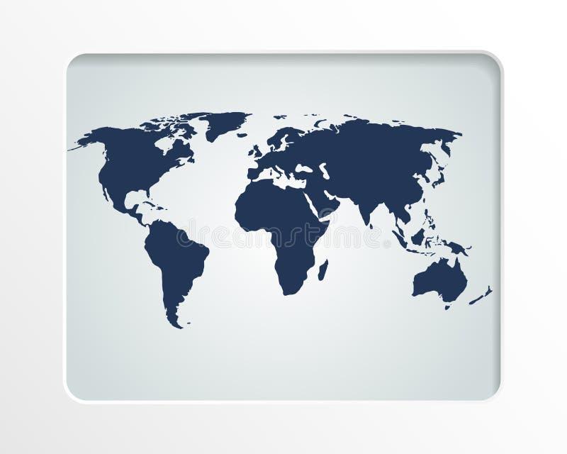 World map in white frame stock illustration