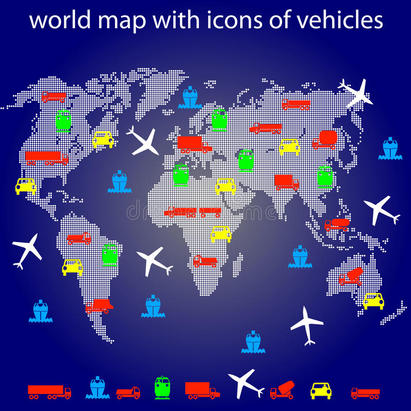 Free World Map With Icons Of Transport For Traveling. Stock Image - 23738761