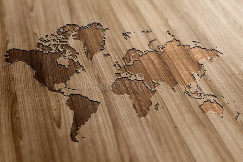 World Map on Wood royalty free illustration