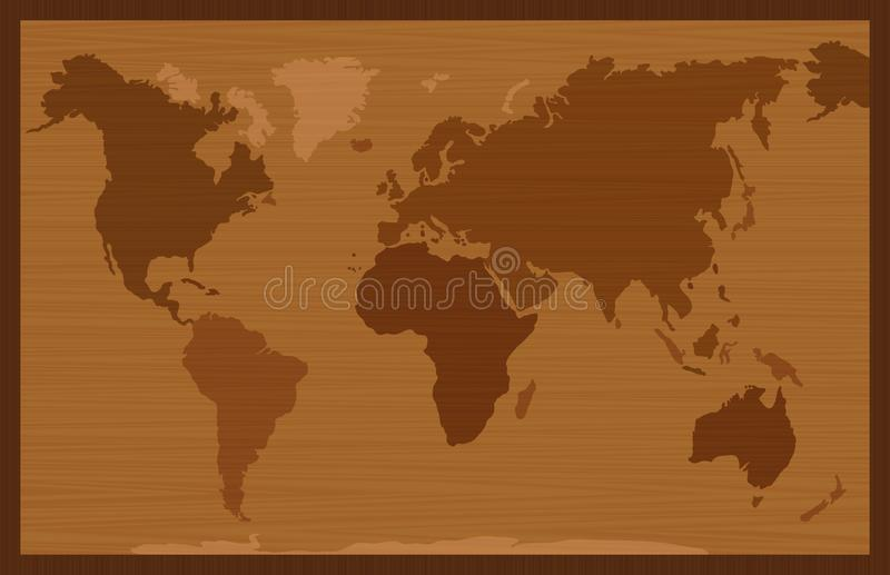 World Map Wooden Inlay Style royalty free illustration