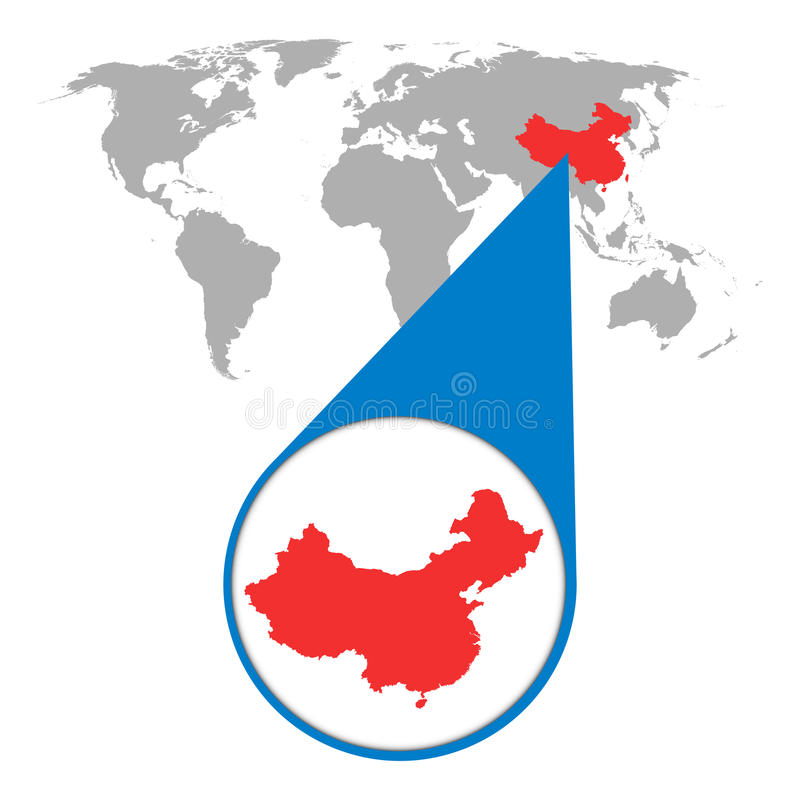 World map with zoom on China. Map in loupe. Vector illustration royalty free illustration