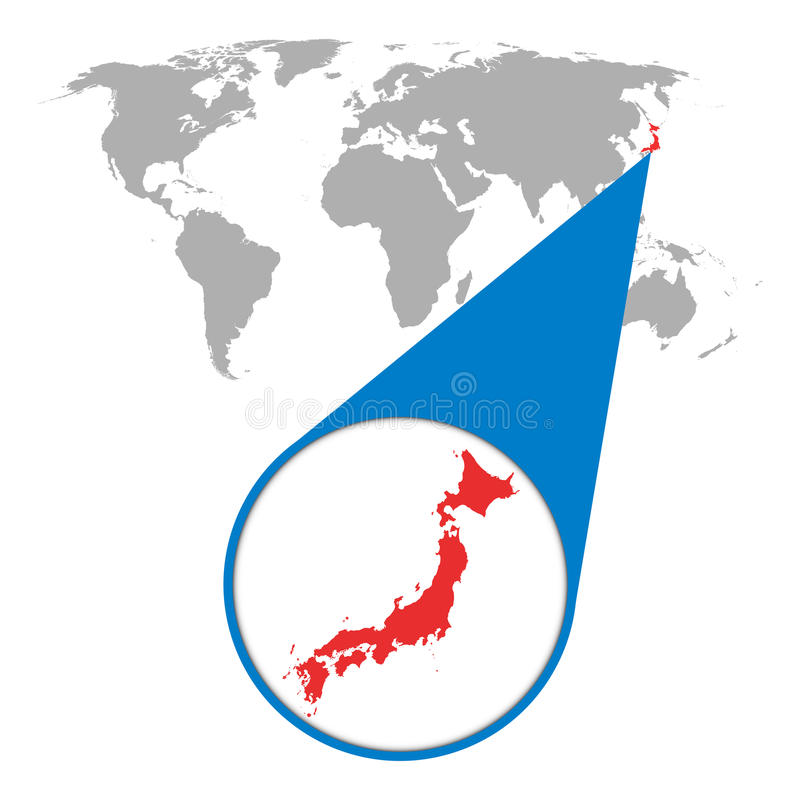 World map with zoom on Japan. Map in loupe. Vector illustration royalty free illustration