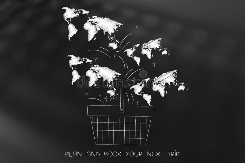 World maps falling into a shopping basket, book a trip vector illustration