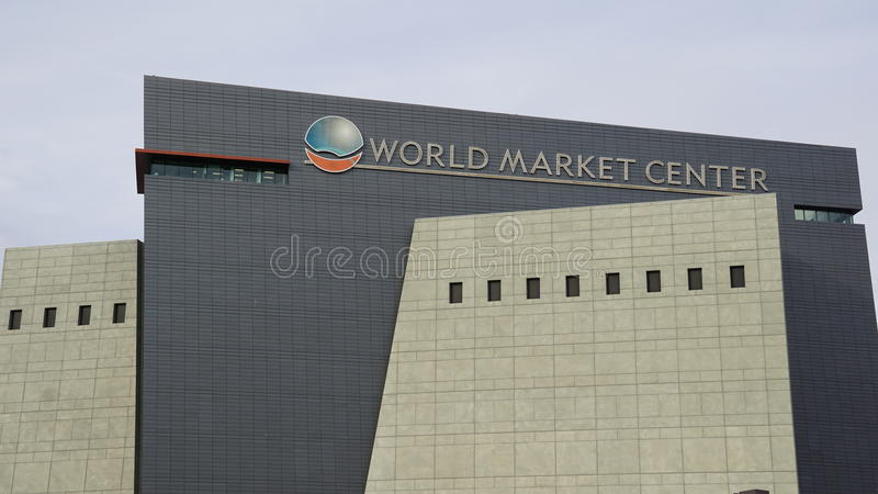 World Market Center, Las Vegas, Nevada. Outside facade and signage at World Market in Las Vegas, Nevada, USA against blue skies on sunny day royalty free stock image