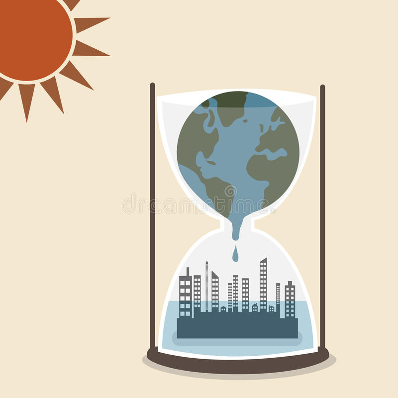 World is melting and flood over metropolis in hour vector illustration