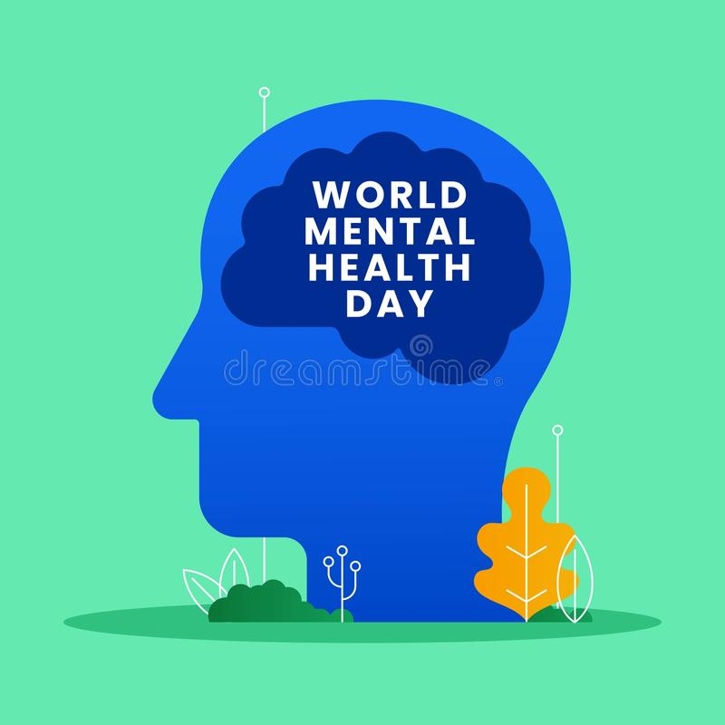 World mental health day concept poster background. Human brain with text in head vector illustration. Nature leaf ornament modern. Style graphic design. eps 10 stock illustration