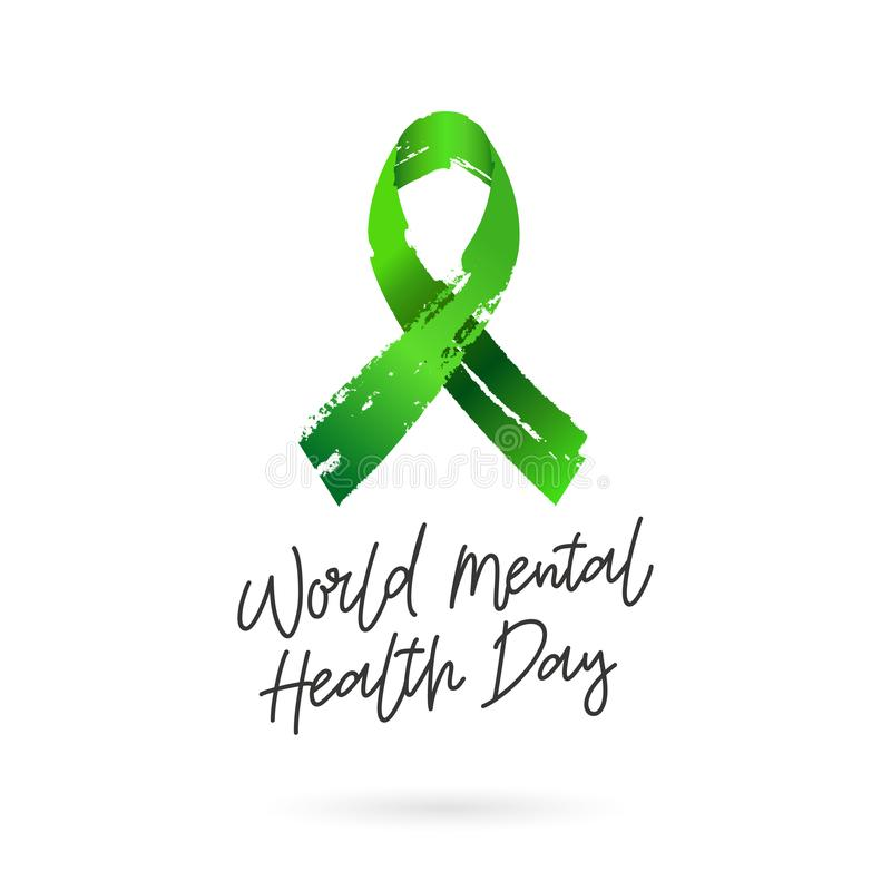 World Mental Health Day. Green ribbon from brush strokes. Vector illustration on white background. Gift card. Lettering and calligraphy royalty free illustration