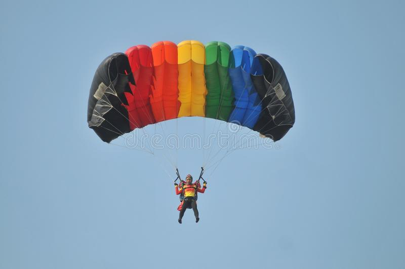 World Military Parachuting Championship. A participant take part a accuracy landing category of The 38th CISM World Military Parachuting Championship at Adi royalty free stock image