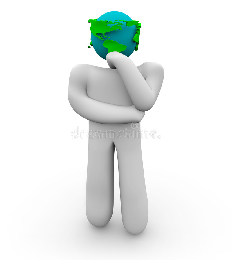 World Minded Thinker. A figure with an Earth as its head ponders vector illustration