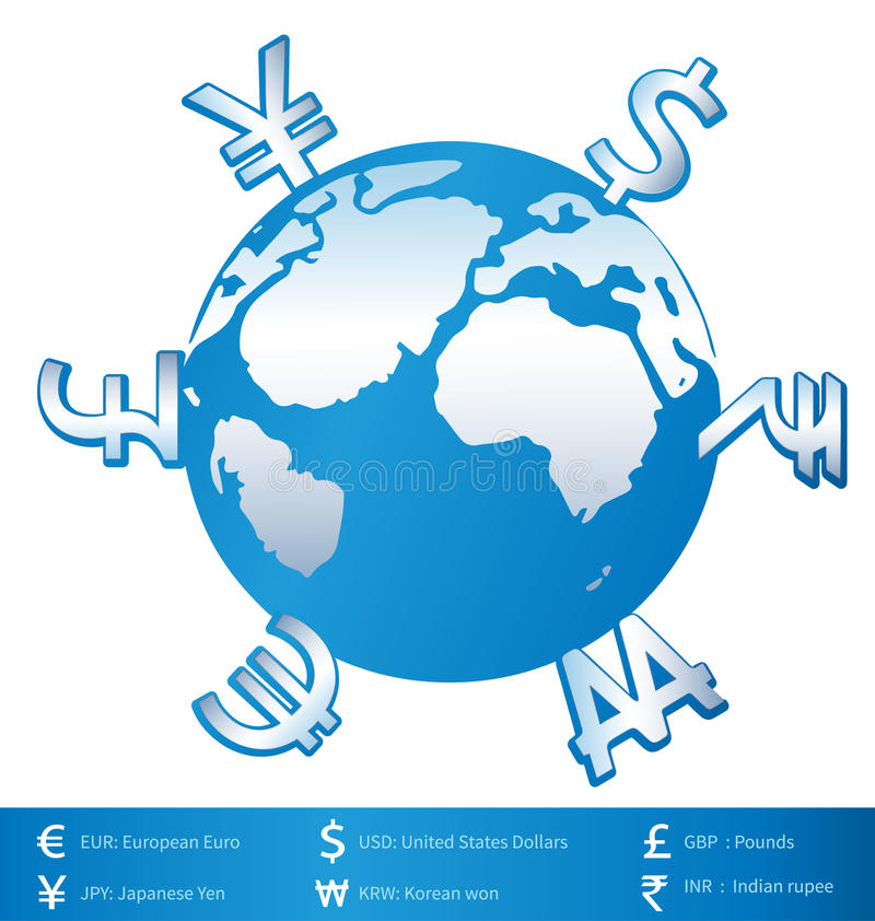 World money. Currency money in world on white background stock illustration
