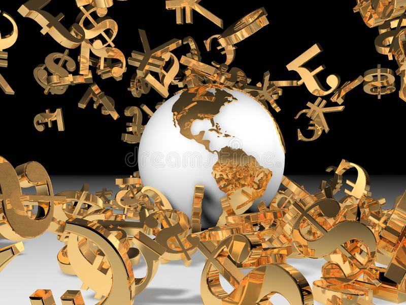 World and money falls. Concept of world and gold money stock illustration