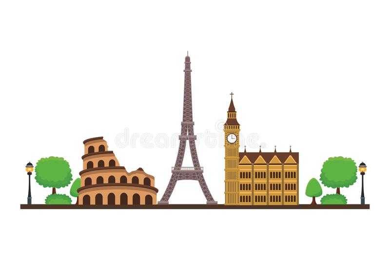 World monuments icon. With trees in white background circus eiffel bigben vector illustration graphic design stock illustration