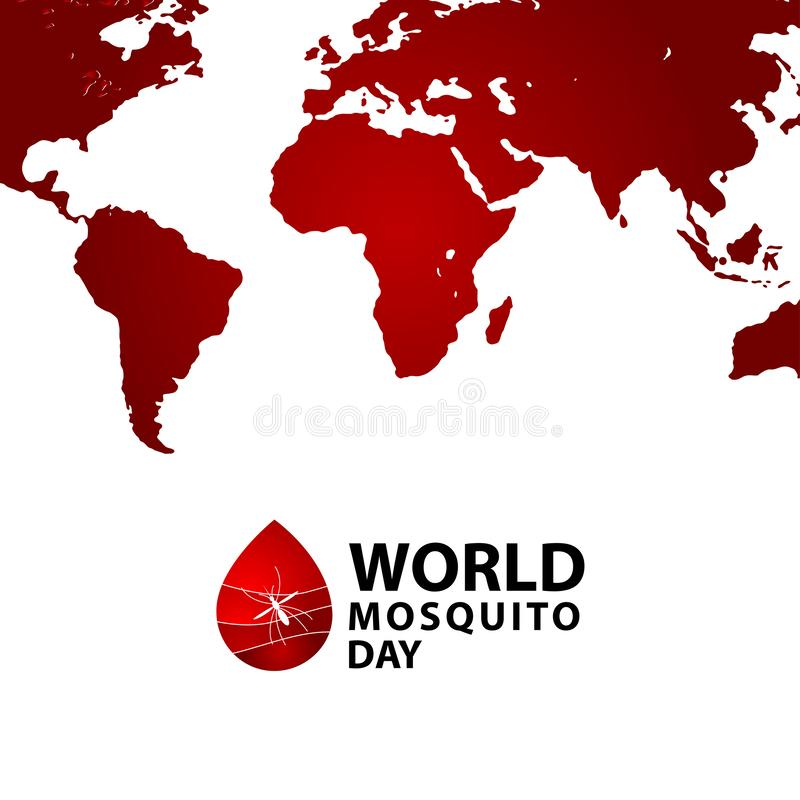 World Mosquito Day Celebration Vector Template Design Illustration. Malaria, insect, bite, stop, icon, background, virus, poster, care, medicine, protection royalty free illustration