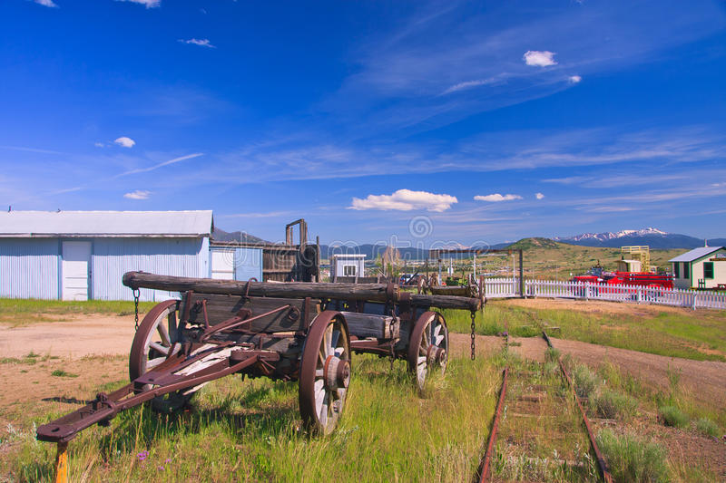 World Museum Of Mining. Old wagon at the World Museum Of Mining, Butte, Montana stock photo