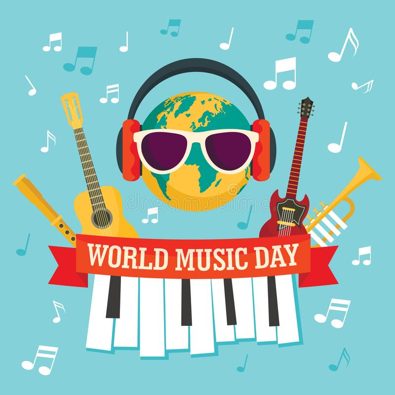 World music day concept background, flat style vector illustration
