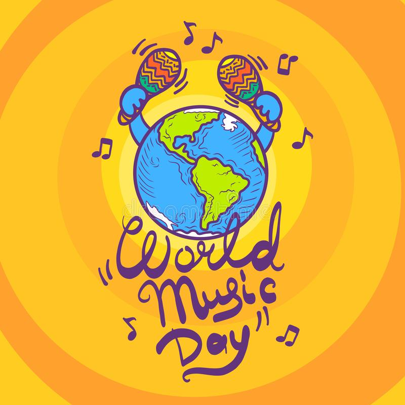 World music day concept background, hand drawn style royalty free illustration