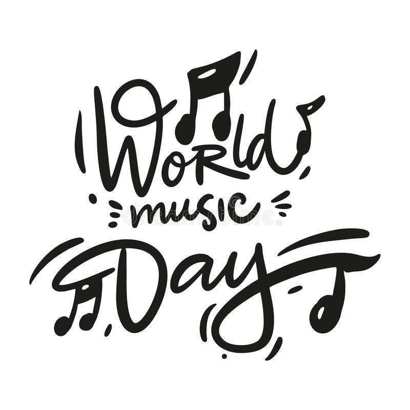 World Music day hand drawn vector lettering. Isolated on white background. Cartoon style. royalty free illustration