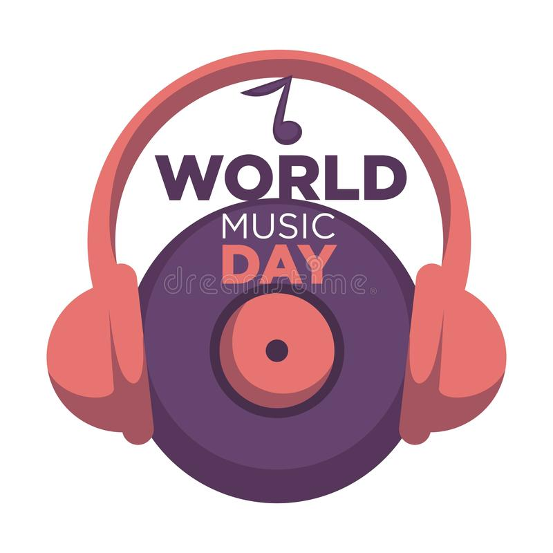 World music day isolated icon vinyl disc and headphones royalty free illustration
